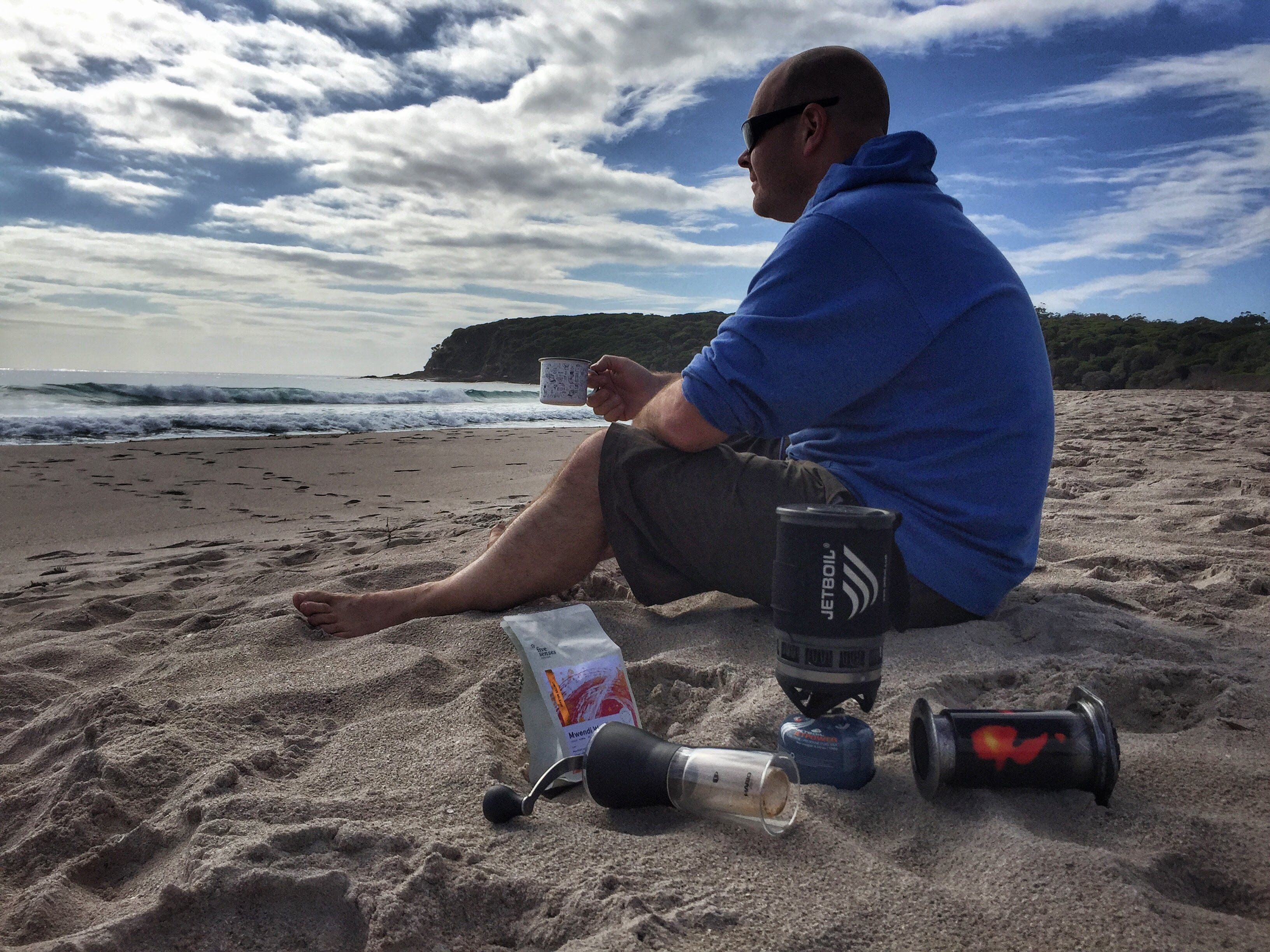 Drinking Good Coffee While Hiking on a Beach