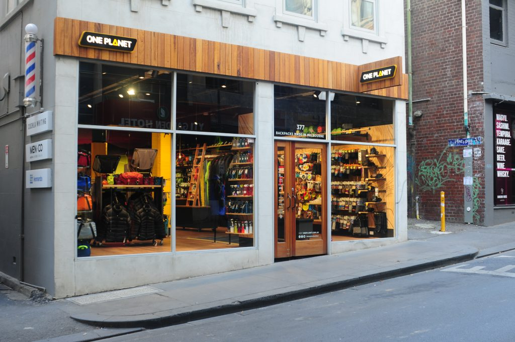 Front of ONE PLANET store on Little Bourke Street, Melbourne