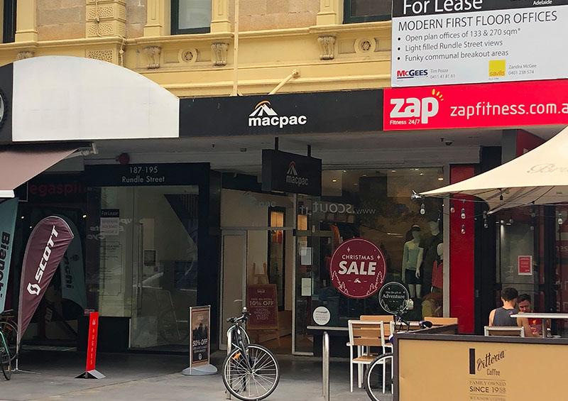 Macpac Hiking Gear Store Rundle Street, Adelaide