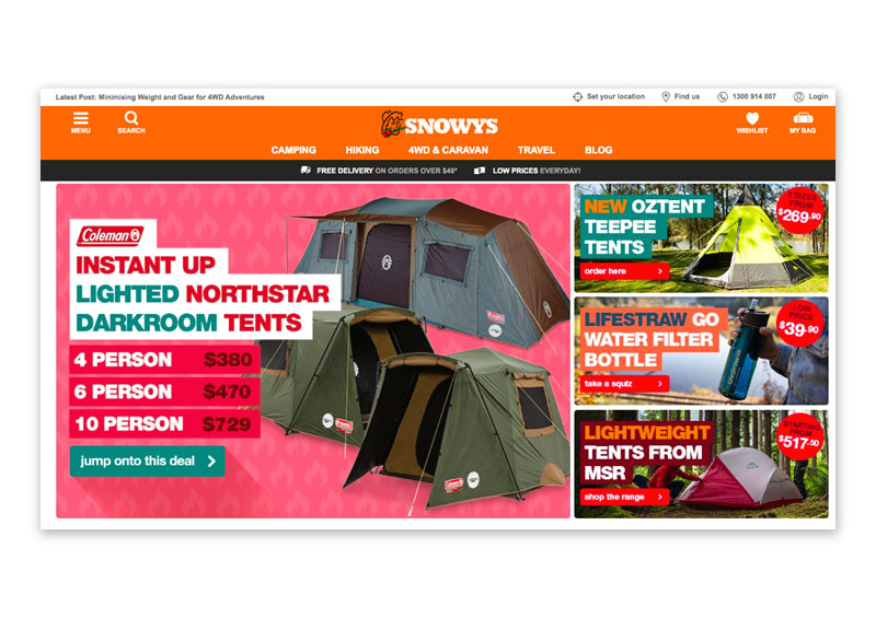 Snowys Outdoors Screenshot of their online store